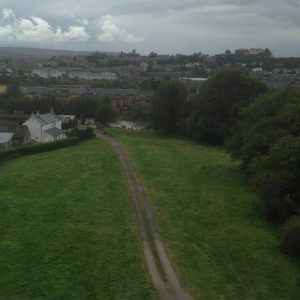 View of the track and harbour, with Stirling Castle visible on the horizon