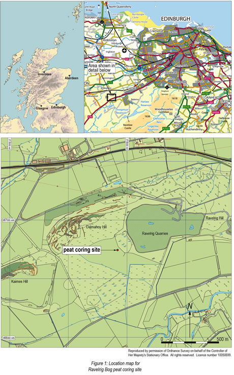 Location of Ravelrig Bog © GUARD Archaeology Ltd