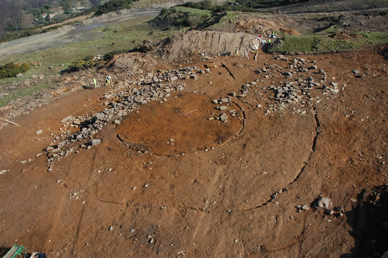 Aerial view of Ravelrig palisaded settlement © GUARD Archaeology Ltd