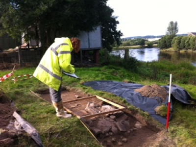 Planning the watergate foundations at Cambuskenneth Abbey