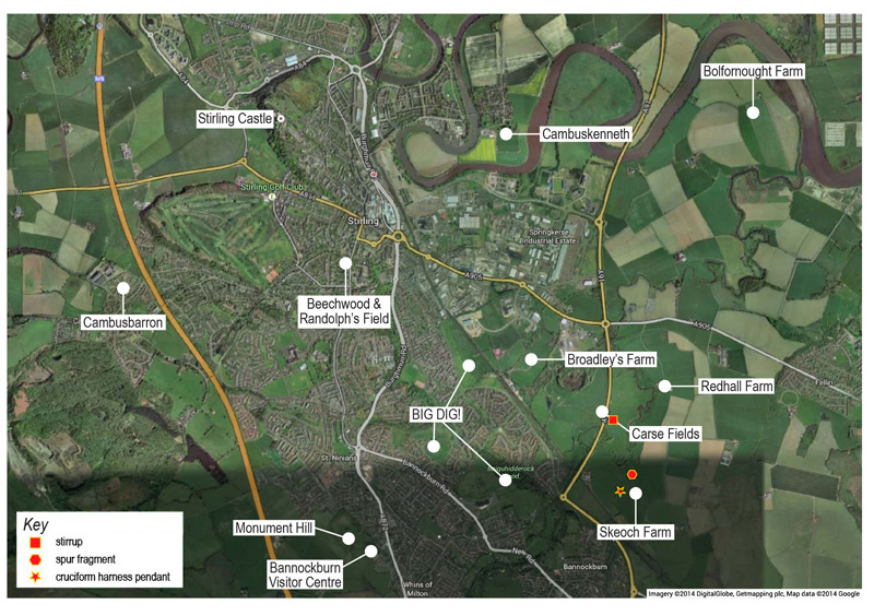 Map showing the various sites investigated around Bannockburn and the new archaeological find spots
