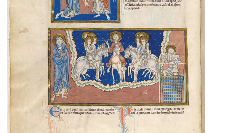 Image from a thirteenth century manuscript, the Trinity Apocalypse, showing cross pendants on the horse harness of the central figure. © Master and Fellows of Trinity College, Cambridge. Licensed under Creative Commons Attribution-Non Commercial 4.0 International Public License.