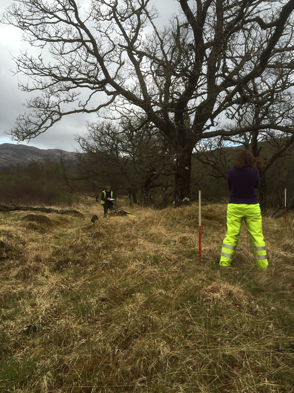 Training survey of a bloomery mound on the Tamheich Burn, Cowal © GUARD Archaeology Ltd.