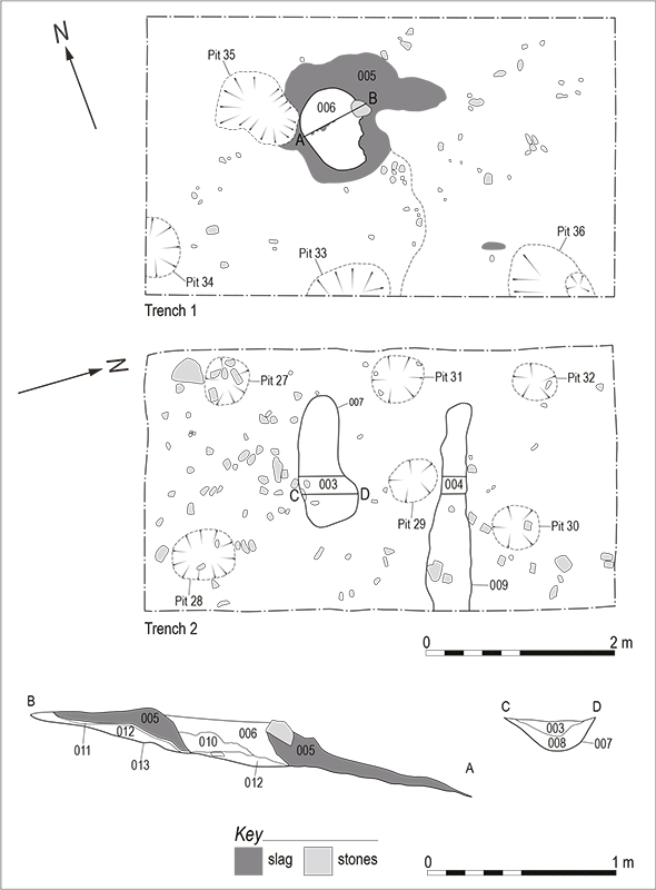 Plans of trenches 1 and 2 and east/west section through bloomery furnace