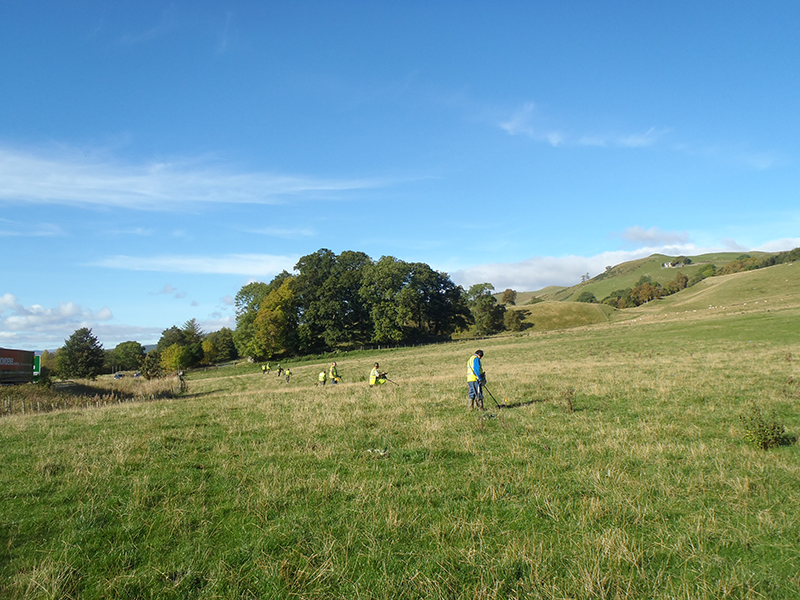 Metal detecting across the Killiecrankie Battlefield © GUARD Archaeology Ltd
