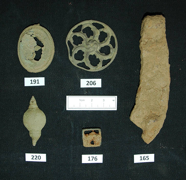 Buckle, pendant, horseshoe and sword harness fragments from Killiecrankie Battlefield