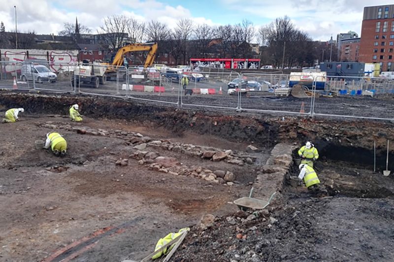 Excavation of Partick Castle walls and ditch © GUARD Archaeology Ltd