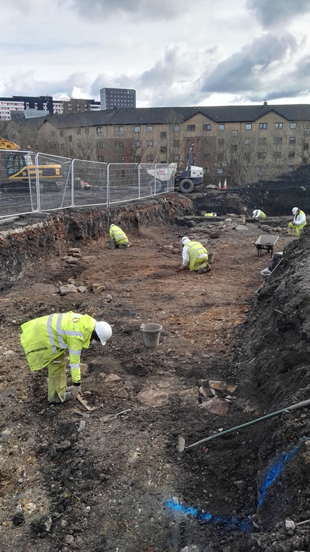 Excavation of Partick Castle walls and ditch