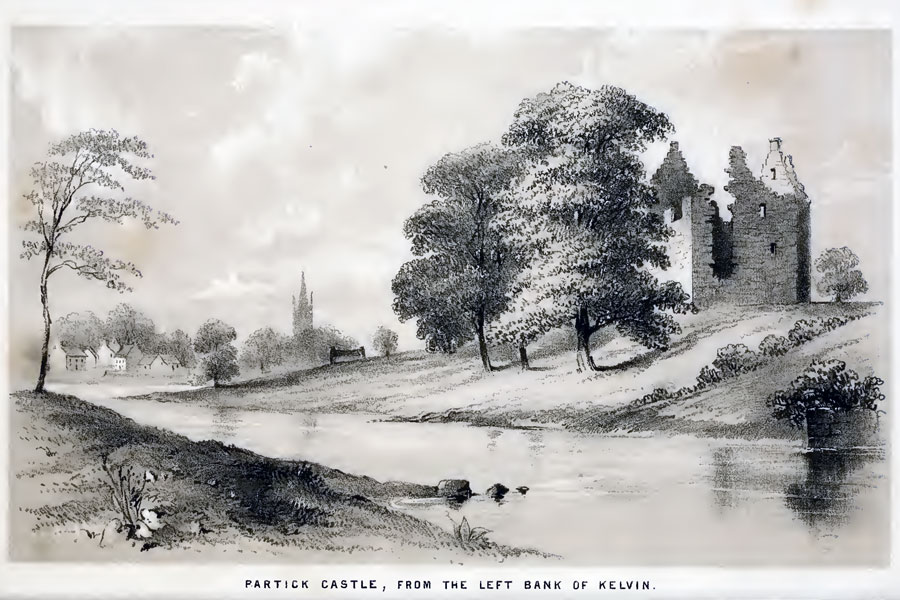 View of Partick Castle from the east side of the Kelvin, from A MacGeorge's Old Glasgow: the place and the people; from the Roman occupation to the eighteenth century 1880, 121
